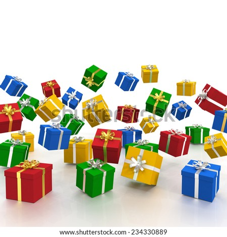 3d rendering of falling christmas gift boxes over white background. - stock photo