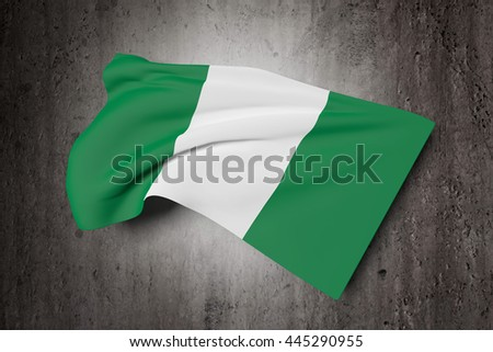3d rendering of Federal Republic of Nigeria flag waving on a dirty background