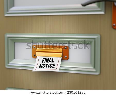 3d rendering of final notice arriving from door letter slot - stock photo