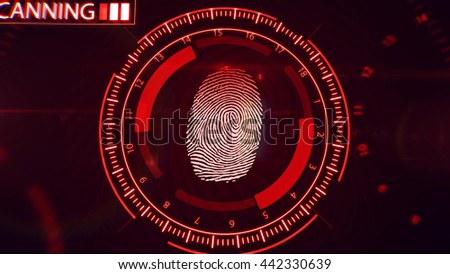3D rendering of Fingerprint scanning technology. Red color.