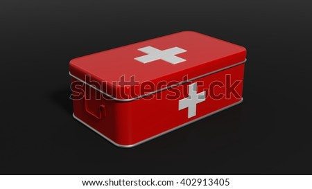 3D rendering of first aid kit, isolated on black background.