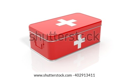 3D rendering of first aid kit, isolated on white background.