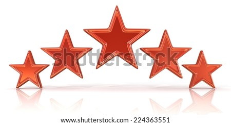 3D rendering of five red stars isolated on white - stock photo