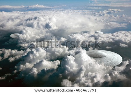 3d rendering of flying saucer ufo in the clouds - stock photo