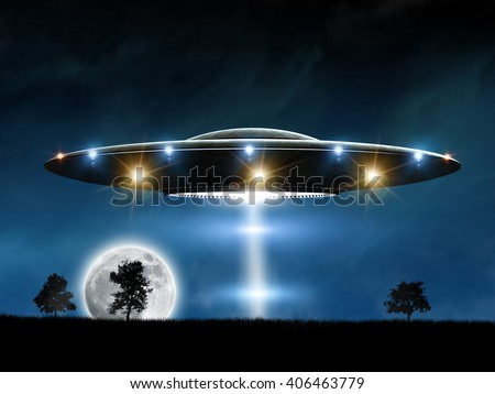 3d rendering of flying saucer ufo on night background - stock photo