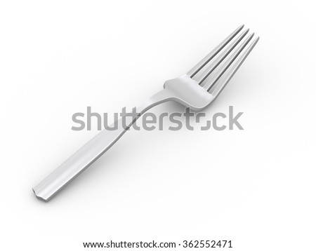 3d rendering of fork on white background - stock photo