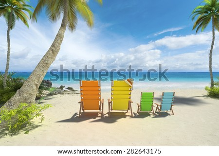 3D rendering of four chairs in big and small size on the beach - stock photo