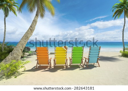 3D rendering of four colorful chairs on the beach - stock photo