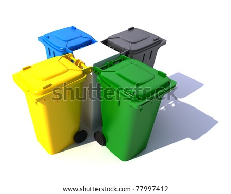 3D rendering of four garbage bins in different colors in a centered arrangement