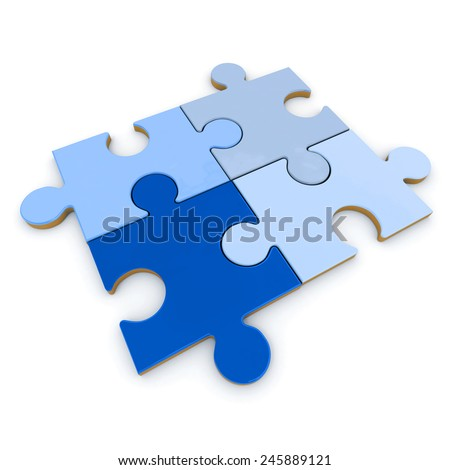 3D rendering of four puzzle pieces in different shades of blue assembled together - stock photo