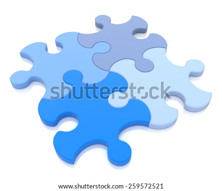 3D rendering of four puzzle pieces in different shades of blue assembled together