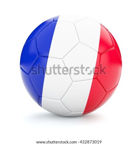 3d rendering of France soccer football ball with French flag isolated on white background - stock photo