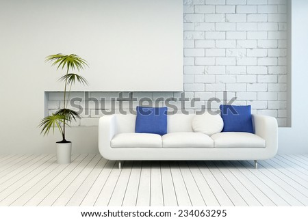 3D Rendering of Fresh Green Plant Near White Couch with White and Blue Pillows at Architectural Living Room with White Wall and Flooring. - stock photo