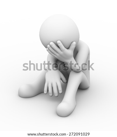 3d rendering of frustrated upset sad depressed man sitting. 3d white people man character - stock photo