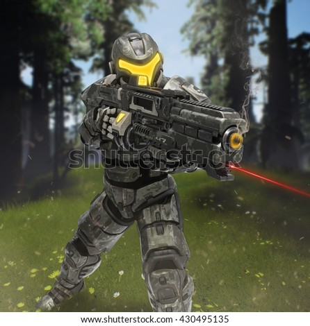 3D Rendering of futuristic infantryman in a forest.