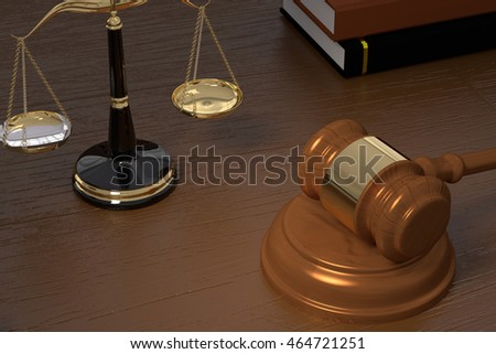 3D rendering of gavel, law scales and books on a wooden table
