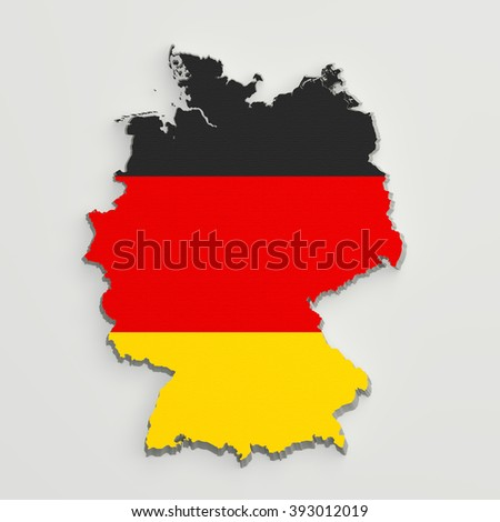 3d rendering of Germany map and flag on white background.