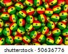 3d rendering of Ghanaian soccer balls. Perfect for background - stock photo