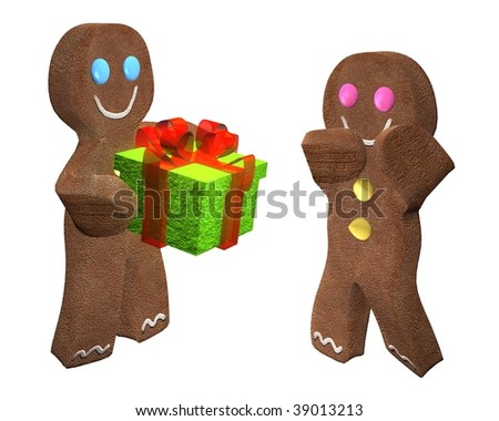 3D rendering of gingerbread man giving a present to a friend