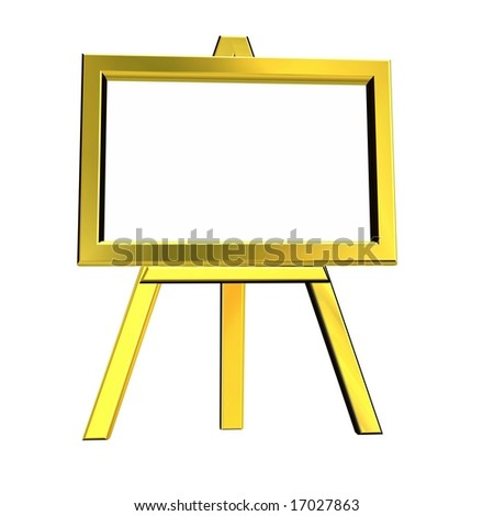 3D rendering of gloden easel on white background