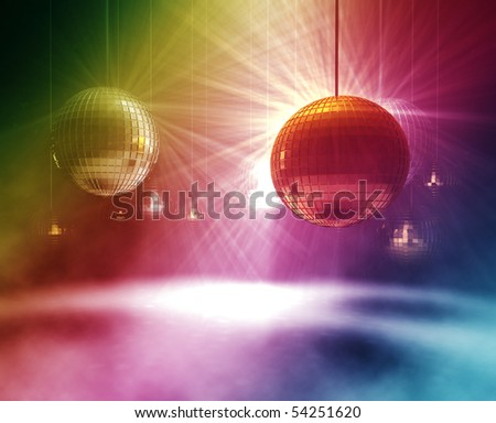 3d rendering of gold and silver Disco Balls - stock photo
