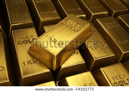 3d rendering of gold bars with a single bar ontop - stock photo