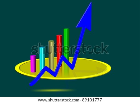 3d rendering of graph on golden dish
