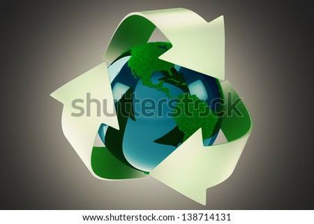 3D Rendering of grass Earth surrounded by the green reflective recycle symbol isolated on grey background.
