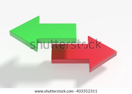 3d rendering of green and red arrows in different directions on white background - stock photo