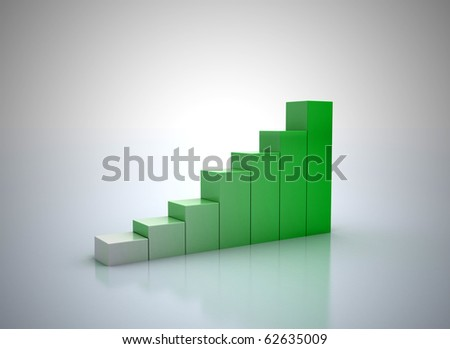 3D rendering of green graph - success - stock photo