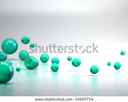 3D rendering of green sphere background - stock photo