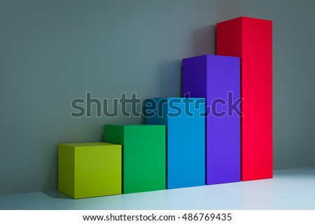 3d rendering of growing bar chart