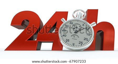 3D rendering of 24 H in red letters with a stopwatch - stock photo