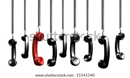 3d rendering of handsets from an old vintage phone - stock photo
