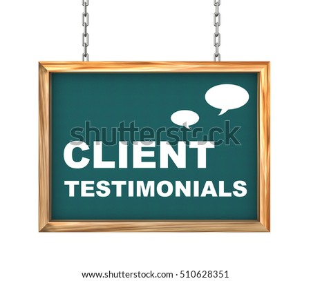 3d rendering of hanging wooden signboard banner of client testimonials