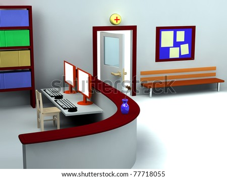 3d rendering of hospital waiting room and registry
