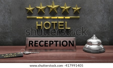 3D rendering of Hotel's reception office with bell and key on wooden desk - stock photo