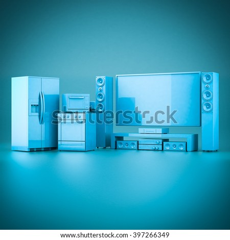 3D rendering of household appliances on a blue background - stock photo