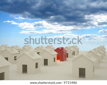 3D rendering of houses with clouds in background