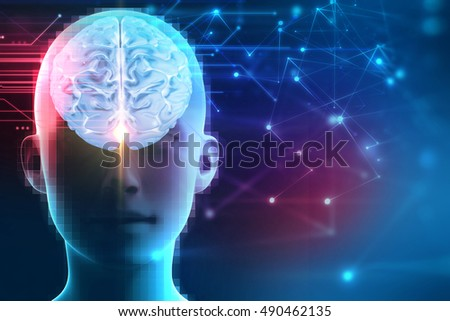3d rendering of human  brain on technology background  represent artificial intelligence and cyber 