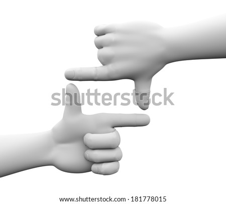 3d rendering of human hands forming viewfinder or frame shape. - stock photo