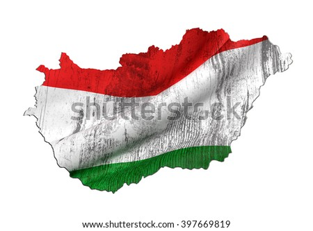 3d rendering of Hungary map and dirty flag on white background. - stock photo