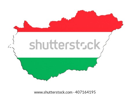 3d rendering of Hungary map and flag on background.