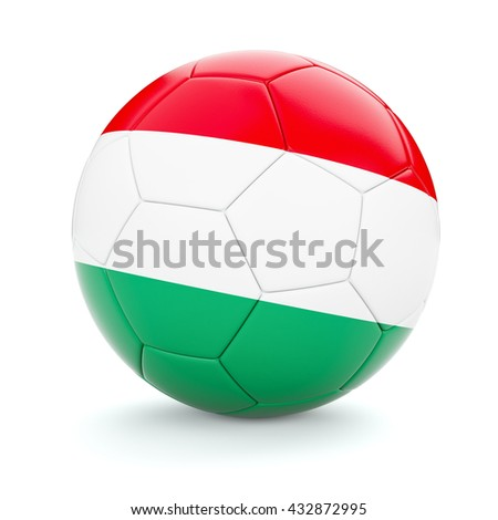 3d rendering of Hungary soccer football ball with Hungarian flag isolated on white background - stock photo