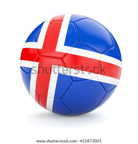 3d rendering of Iceland soccer football ball with Iceland flag isolated on white background - stock photo