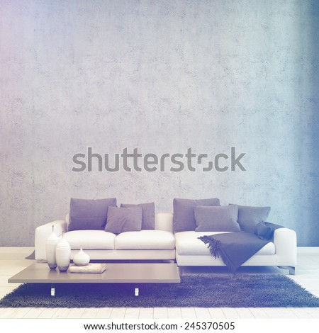3D Rendering of Illuminated Simple Architectural Living Room, with Couch and Table, Inside a House with Abstract Wall Design. - stock photo