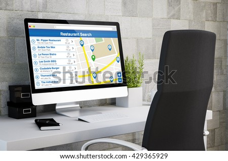 3d rendering of industrial workspace showing restaurant search on computer screen. All screen graphics are made up. - stock photo