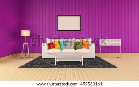 3D rendering of interior modern room includes sofa, floor lamp, shelves, carpet on painted wooden floorboards and empty picture frame hanging on the pink wall.