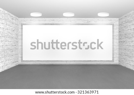 3D rendering of interior of a gray office with brick wall and empty copyspace