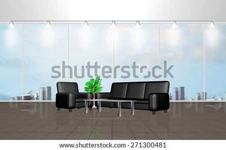 3D rendering of interior of a waiting room with large windows - stock photo